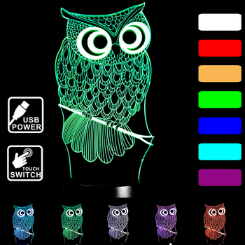 Owl Xmas Gift Home decoration LED Desk Table Lamp 7 Color 3D Night light Touch control Child gift holiday Night Light D25