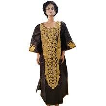MD dashiki afrika elbiseler kadınlar için bazin artı boyutu afrika baskı elbiseler geleneksel nakış pamuk afrika elbise kafa sarar