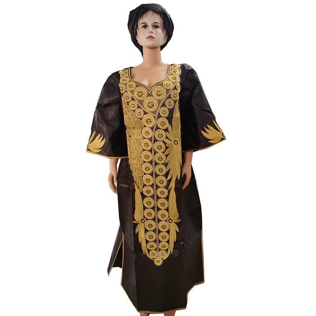 MD dashiki الأفريقي فساتين للنساء بازان حجم كبير الأفريقية طباعة فساتين التقليدية التطريز القطن أفريقيا أشرطة رأس فستان