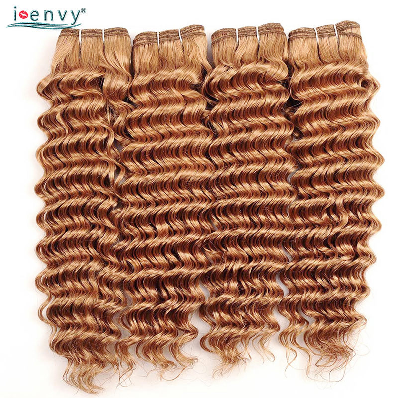 I Envy #27 Honey Blonde Bundles Brazilian Deep Wave Pre Colored Human Hair Bundles 1 3 4 Pcs 10 26 Inches Bundle Deals Non Remy