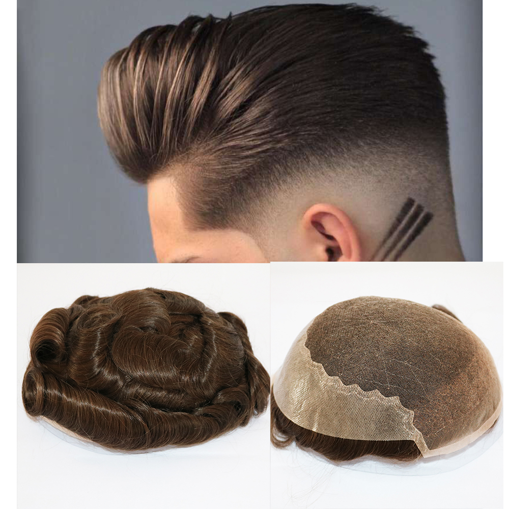 Virgin Human Hair Toupee For Men Soft French Lace Cap With PU In Back 6 Inches Length Hair Natural Wave Men's Hair