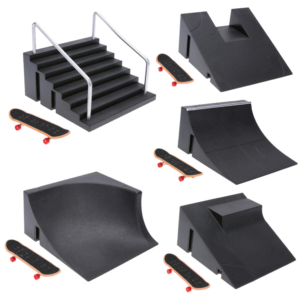 Skate Park Fingerboard Mini Table Game Finger Skating Board With Ramp Parts Track Mini Skateboard Toys Professional Fingerboard