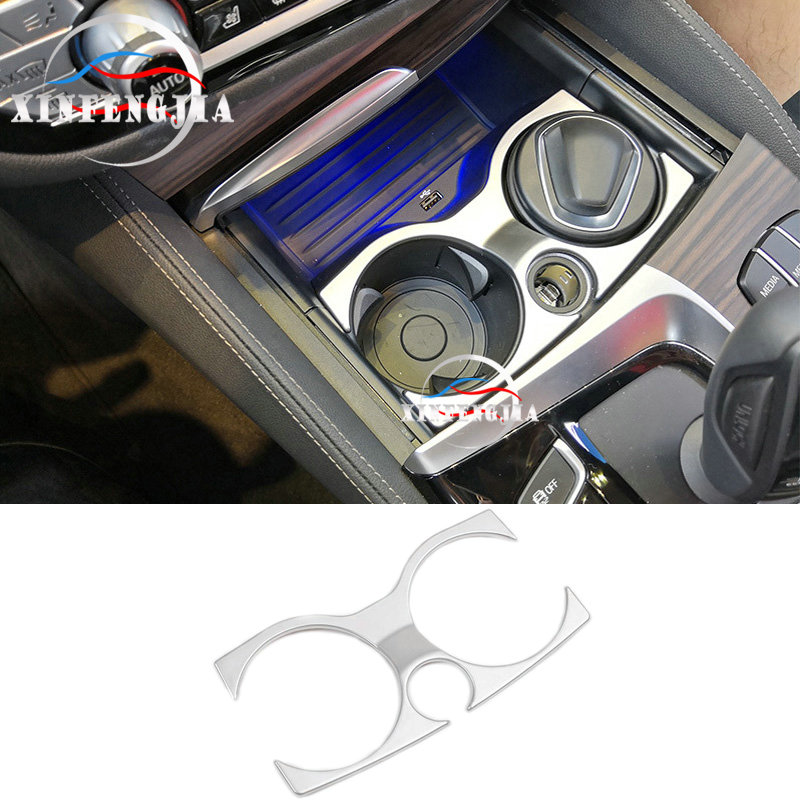 For BMW 5 Series 6GT G32 G30 17-19 Chrome ABS Front Water Cup Holder Cover Trim