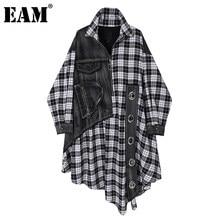 [Eam] 女性黒のチェック柄デニムビッグサイズドレス新ラペル長袖ルーズフィットファッションタイド春秋2021 1DC284