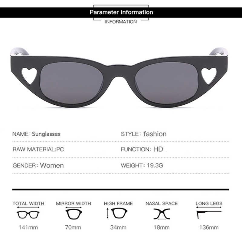MVBBFJR Модные женские солнцезащитные очки в форме сердца мужские солнцезащитные очки Любовь Ретро Винтажные Модные солнцезащитные очки небольшая оправа UV400 кошачий глаз