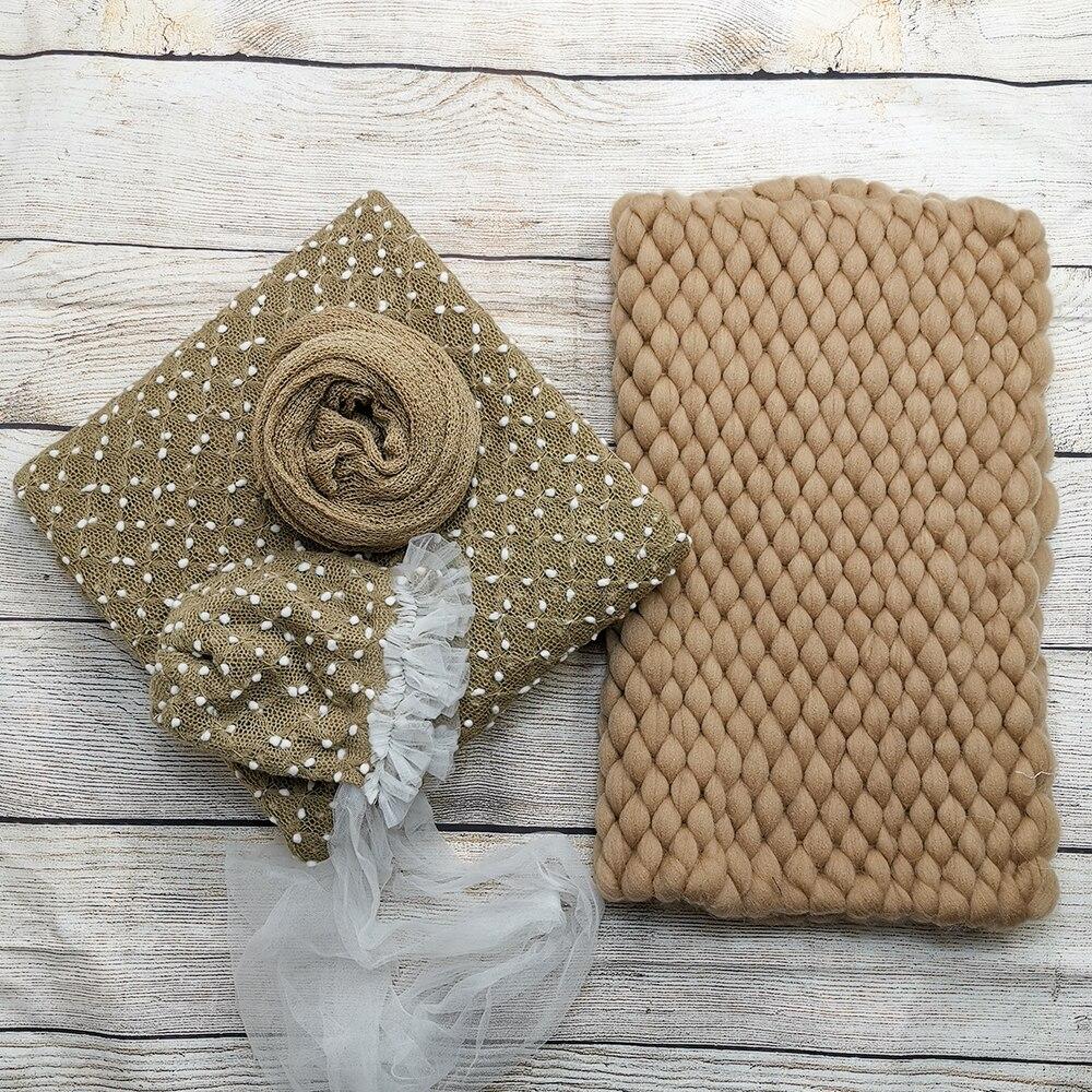 Knit Bobble Wraps+ Floral Baby Flower Bonnet +45*50cm Handcraft Blanket+140*30cm Stretch Knit Wrap For Newborn Photography Props