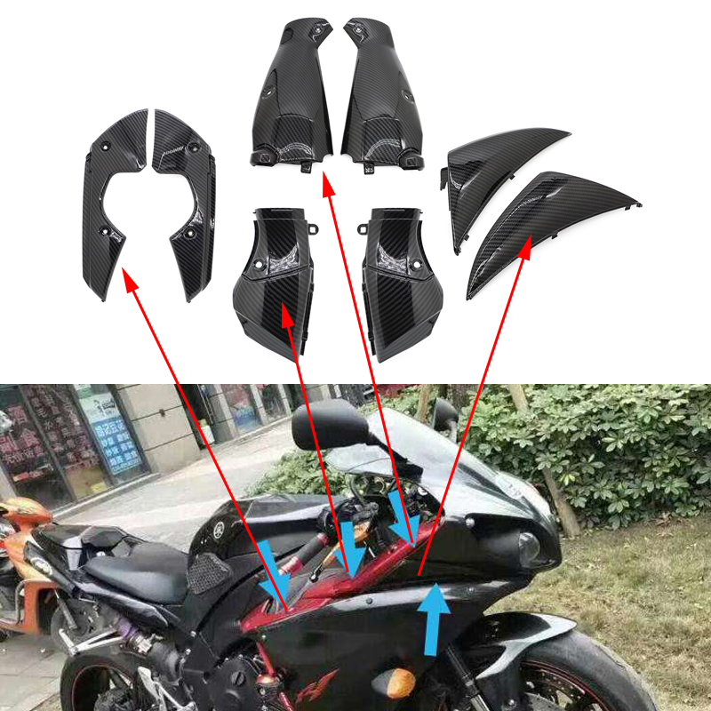 Motorcycle Water Transfer Printing Bodywork Fairing Side Panel Intake Pipe Covers Protector For Yamaha YZF <font><b>R1</b></font> YZFR1 <font><b>2009</b></font> - 2011 image