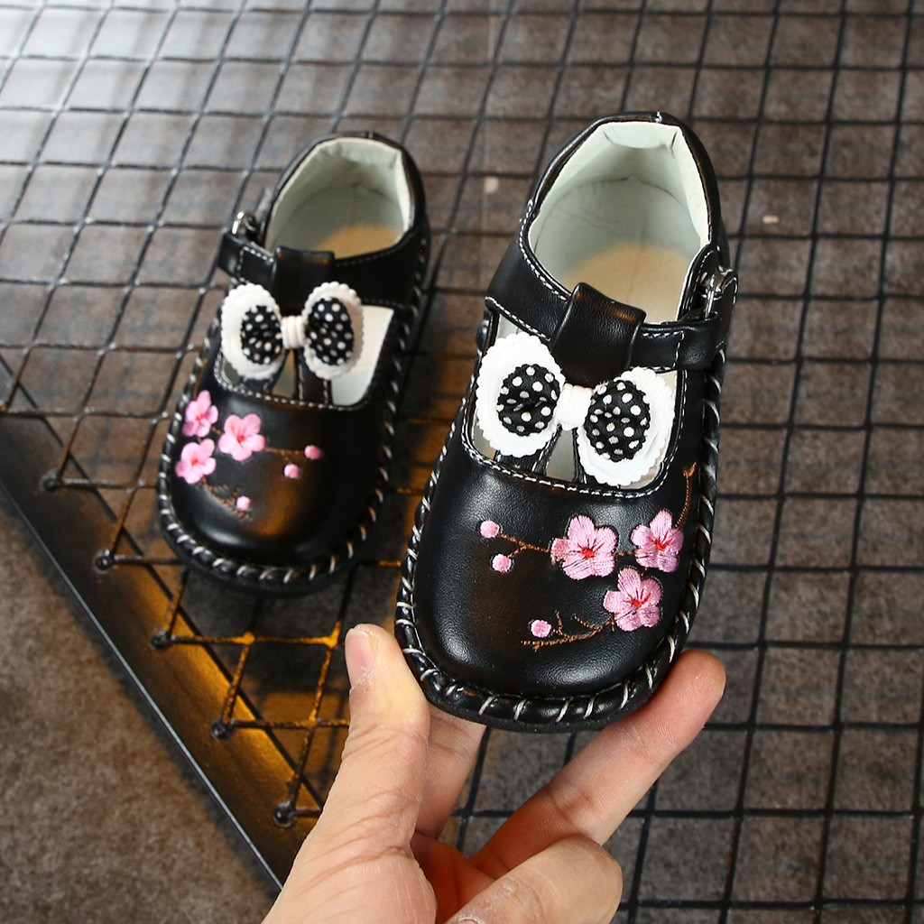 Toddler Infant Cute Floral Shoes Causal Kids Baby Shoes Spring Girls Bowknot Embroidery Shoes Princess Single Leather Shoe
