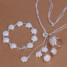 Silber sets hochzeit schmuck charme elegante rose blume halskette ring Stud Ohrringe modus