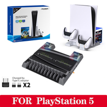 For PS5 Vertical Cooling Fan Stand Digital Edition Dual Fast Charger For Sony PlayStation 5 Controller Charging Station Charger