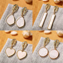 Fashion Golden Beach Earrings Shell Round Rectangular Heart Charm Alloy Jewelry Accessories Variety Styles