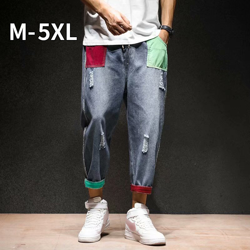 Men Vintage Blue Jeans Jeans Straight Pants 2020 Mens Japanese Streetwear Shredded Patchwork Denim Pants Male