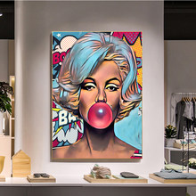 Classic Movie Star Blowing Bubbles Art Canvas Paintings Poster and Print Cuadros Wall Art Picture for Home Decor (No Frame)