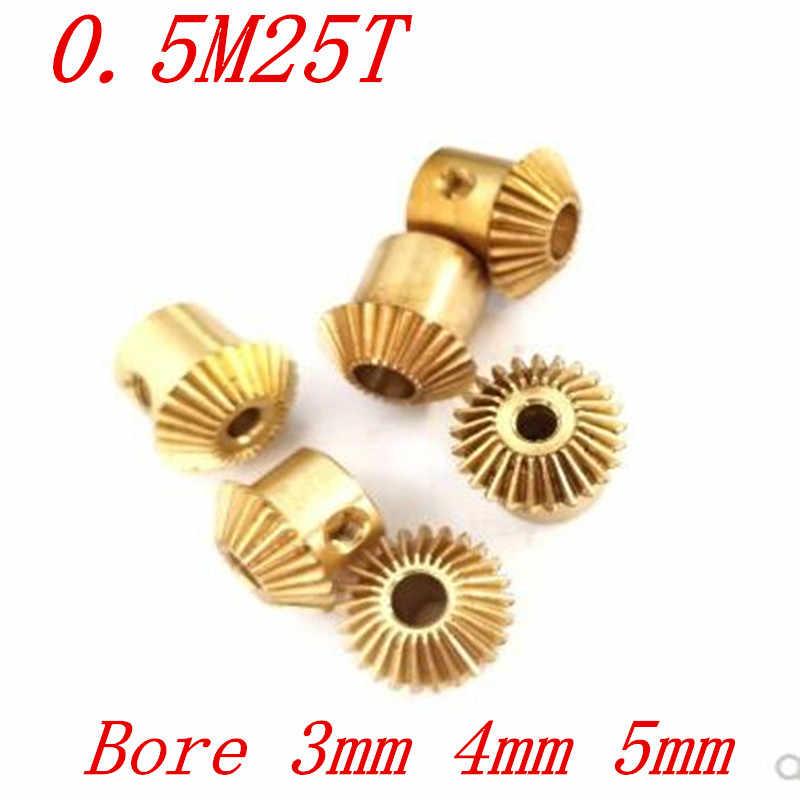 2 Pcs 1:1 Messing Bevel Gear 0.5M25T 0.5 Modulus 25 Tanden Met Binnenste Gat 3 Mm/4 Mm Of 5 Mm 90 Graden Drive Commutatie Gears