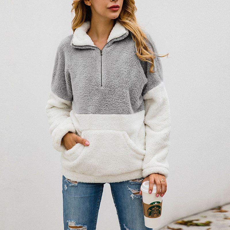 2019 Women Winter Warm Soft Fleece Sweatshirt Fluffy Hoodies Ladies Zipper Up Turtleneck With Pocket Pullover Casual Outwear