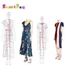 여성 패션 눈금자 도구 여성 바디 템플릿 패션 디자인 여성 드로잉 눈금자 a4 용지 디자인에 적합