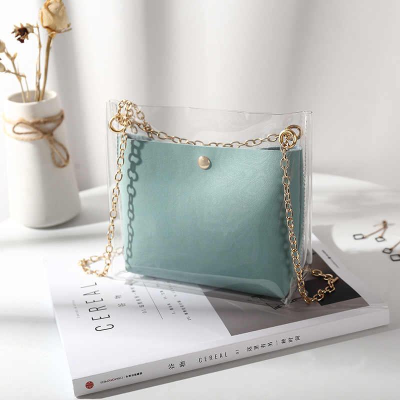 Bolso de lujo de diseño 2019 bolso de cubo transparente para mujer pequeño bolso de hombro transparente con gelatina de PVC para mujer