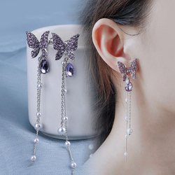 Korean Shiny Butterfly Crystal Drop Earrings For Women Elegant Pearl Tassel Dangle Earring 2020 Brincos Female Fashion Jewelry