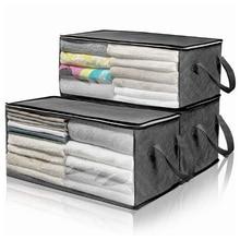 Складной ящик для хранения одежды нетканые ткани сумка для хранения с прозрачным окошком, на молнии Костюмы постельное белье Органайзер с ручками держатель