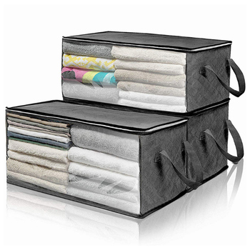 Folding Clothes Storage Box Non Woven Fabric Storage Bag Clear Window Zipper Clothing Bedding Organizer With Handles Holder