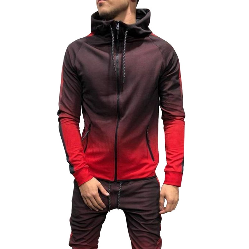 2020 Autumn Casual Men Tracksuit Sets Fashion 3DGradient Sweatsuit Hoodies  Sweatpants Slim Joggers Gym Pants Suit Man