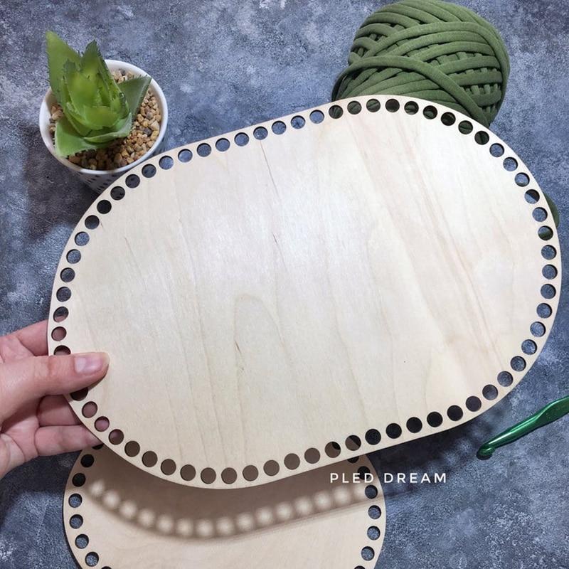 Set Of 10pcs 30x20cm Wood Base Wooden Rectangle Crochet Basket Bottoms Wood Stitch