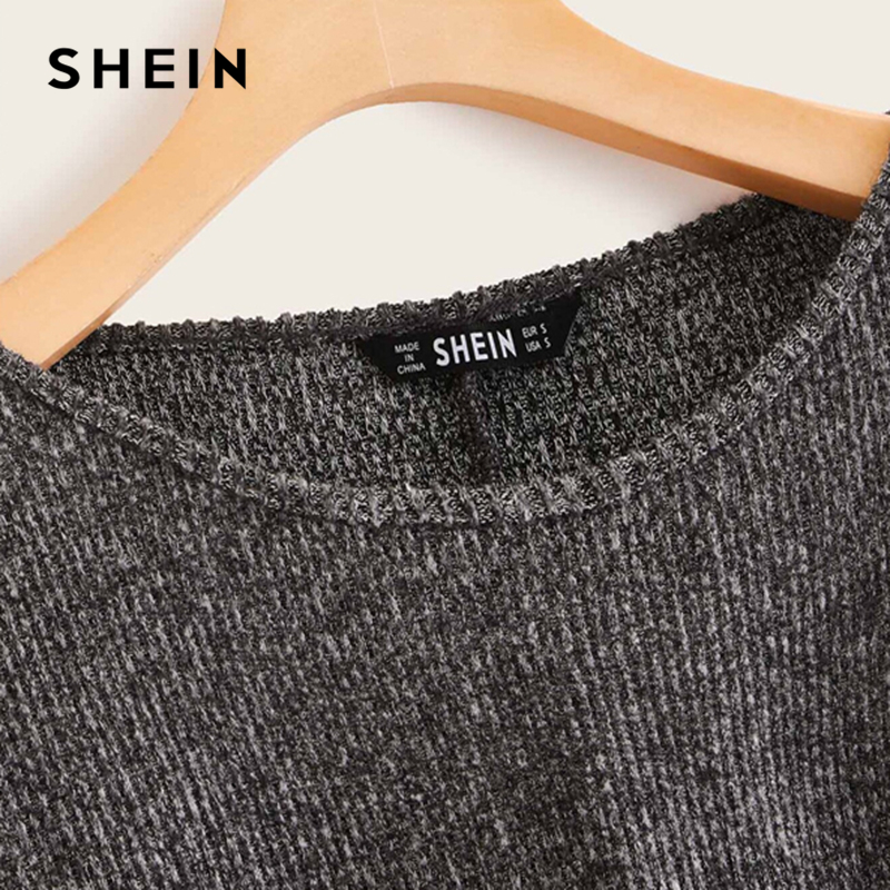 SHEIN Grey Boat Neck Ribbed knit Casual Top Women Autumn High Street Bishop Sleeve Office Ladies Basic T-shirts 4