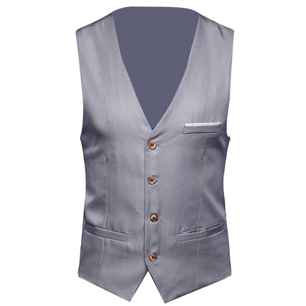 S-6XL męska kamizelka do garnituru formalnego formalne kamizelki mężczyźni Solid Color Sliming dopasowany kostium kamizelka pojedyncze guziki kamizelki Fit męski garnitur kamizelka