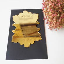 100pcs per lot golden mirror acrylic 5*7inch laser engraving letters hot sale wedding invitation card