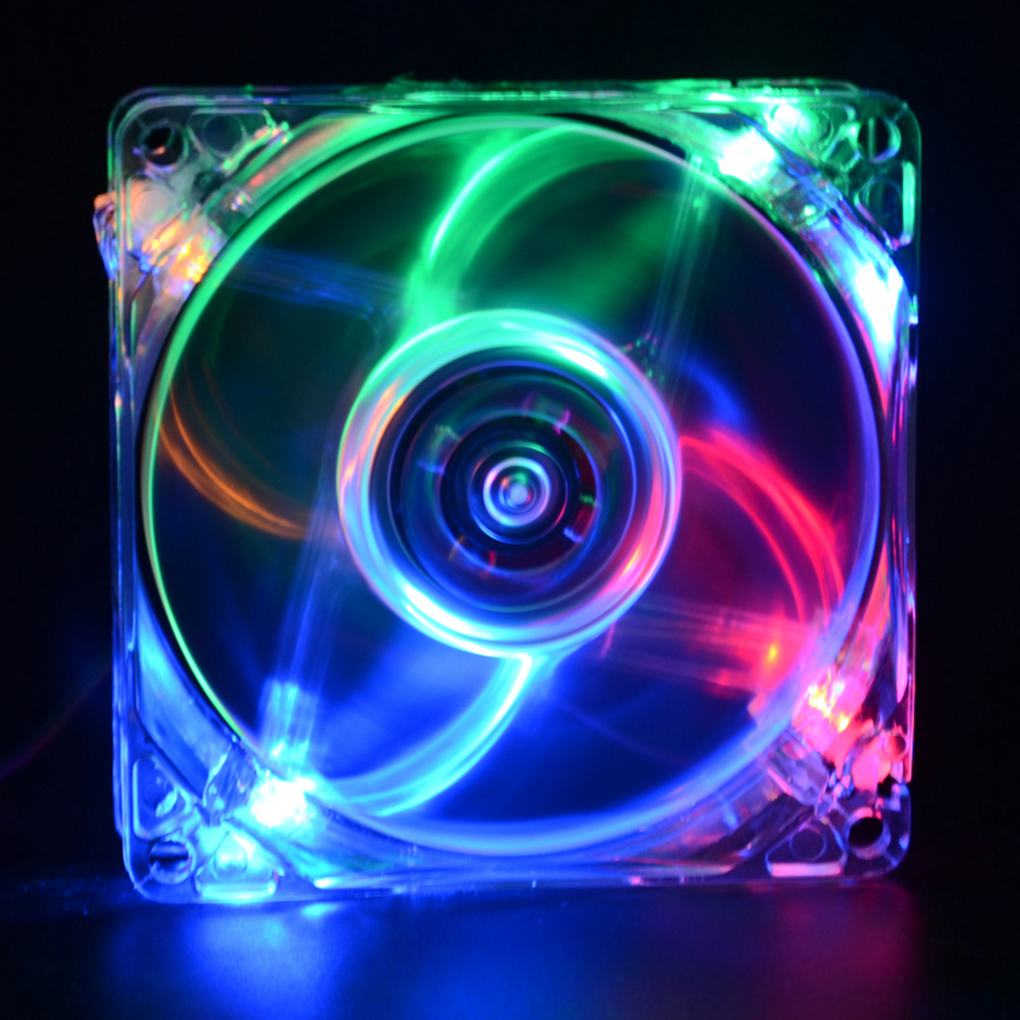 8cm LED Light Low Noise Computer Host Case Dual D Type 4 Pin Interface Cooling Fans Computer Accessory
