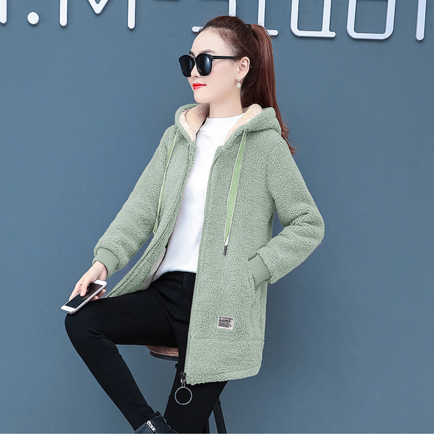 2019 Winter Faux Fur Teddy Coat Women Fashion hooded Add velvet to thicken zipper jacket fashionable and casual plus-size coat 2