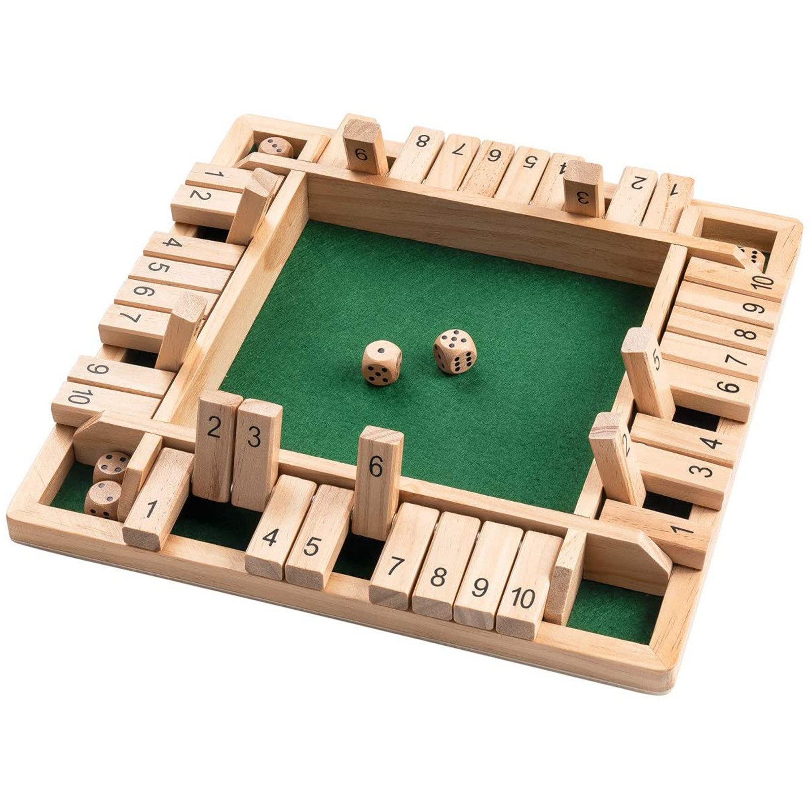 4 Sided 10 Numbers Board Game Wooden Shut The Box Game Family Party Club Ktv Drinking Game For Kids And Adults Educational Toys 2