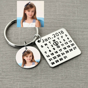 Personalized Calendar Photo Keychain,Customized Calendar Anniversary Date highlighted with heart,Engraved Father's Gift for Dad