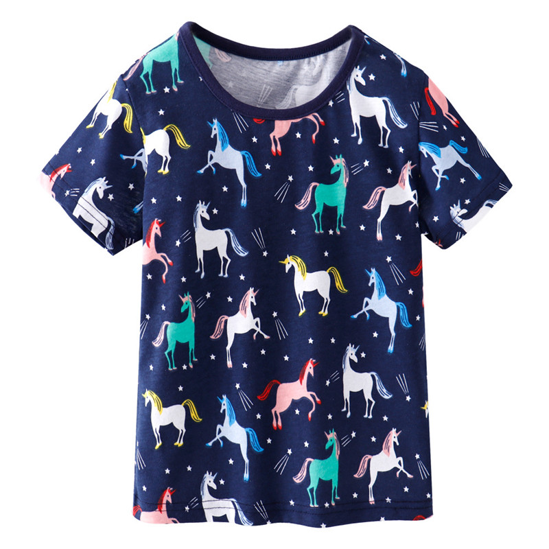 Jumping Meters Girls Summer Clothes Unicorns T Shirts 100% Cotton Children's Tees New Animals Girls Tops