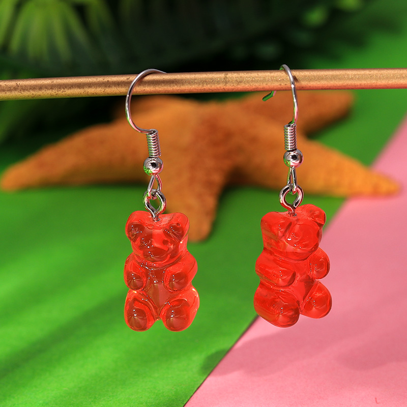 1 Pair Creative Cute Mini Gummy Bear Earrings Minimalism Cartoon Design Female Ear Hooks Danglers Jewelry Gift