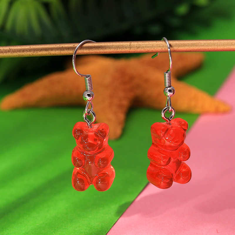 1 Pair Sveglio Creativo Mini Gummy Bear Orecchini Minimalismo di Disegno Del Fumetto Femminile Ganci per le Orecchie Ciondoli Gioielli Regalo