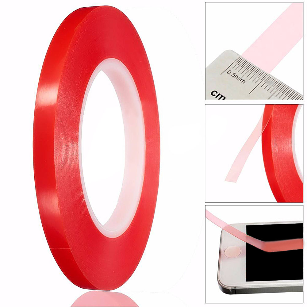 10mm 50m Red Film Tape Double Side Fix Tape Acrylic Adhesive Sticky Glue PET Clear Double Sided No Trace for Phone LCD Screen
