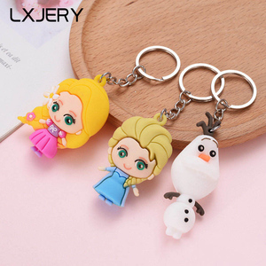 LXJERY Cute Cartoon Princess Snowman Keychain PVC Key chain For Women Bag Charm Key Ring Pendant Gifts Jewelry
