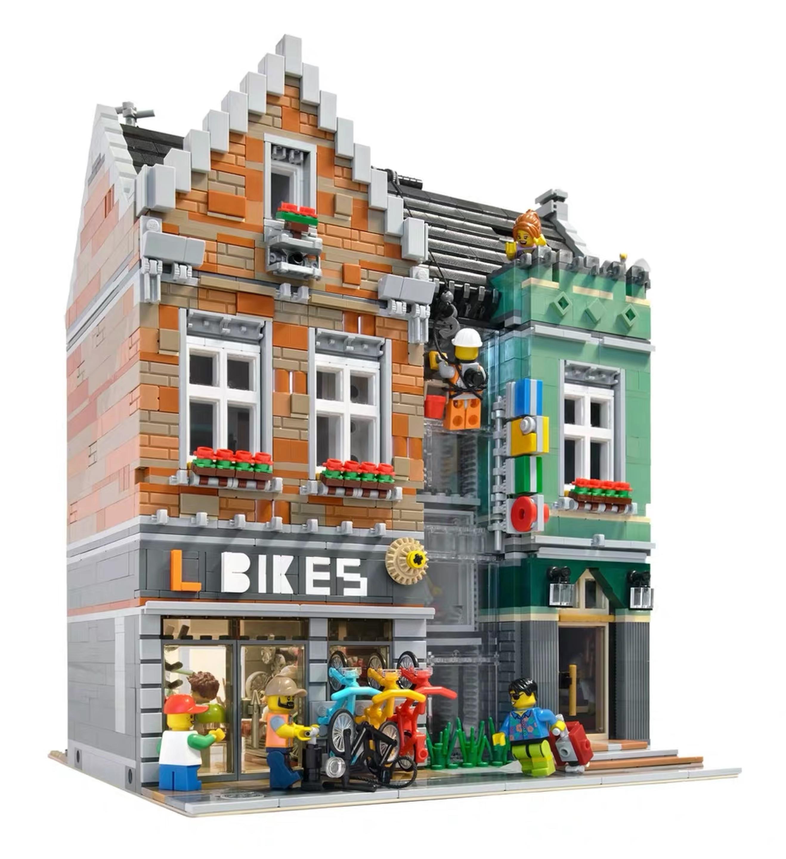 MOC City Streetview Series The brickstive Havana Cafe Bike Shop University Post Model Modular Building Blocks Bricks Toys Gifts