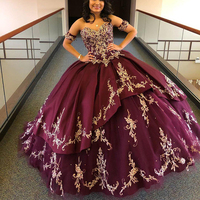 Luxurious Burgundy Lace Beaded Quinceanera Prom Dresses Ball Gown Party Gowns Sweetheart Tulle Evening Sweet 16 Dress Custom