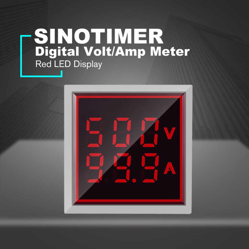 Sinoالموقت الرقمية التيار المتناوب الفولتميتر مقياس التيار الكهربائي 50-600 فولت 100A 22mmLED المؤشر الحالي الجهد متر فولت صغير أمبير تستر Aquare لوحة