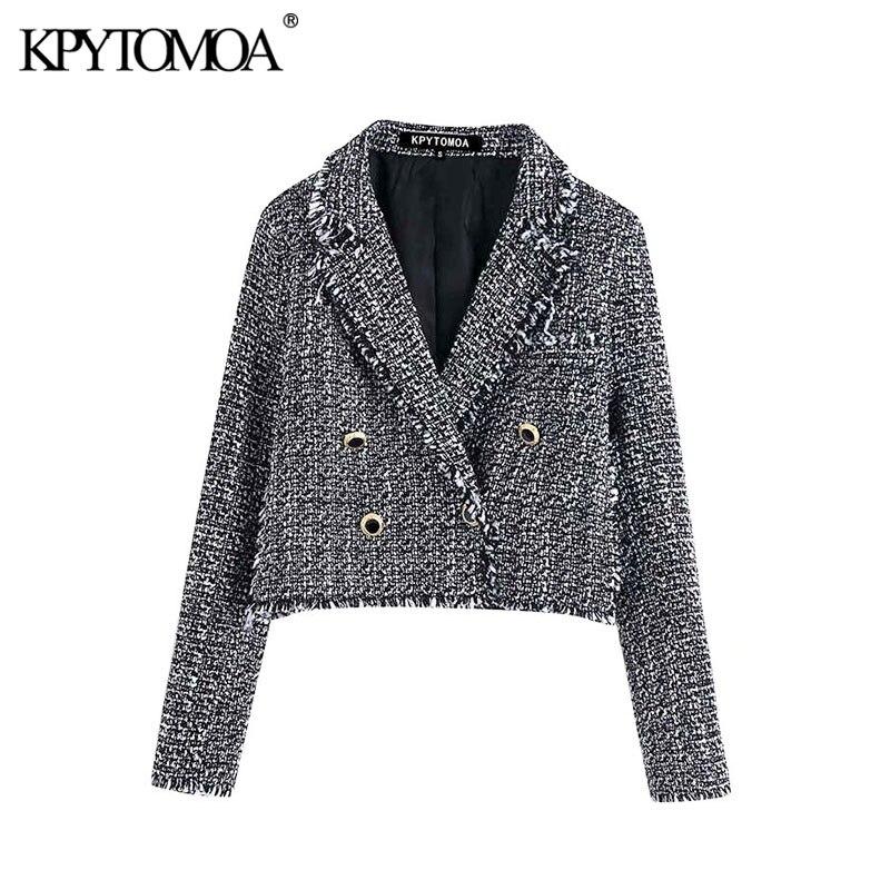 Vintage Stylish Double Breasted Tweed Plaid Short Blazer Coat Women 2020 Fashion Long Sleeve Frayed Tassel Outerwear Chic Tops