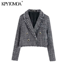 Vintage Stylish Double Breasted Tweed Plaid Short Blazer Coat Women 2020 Fashion