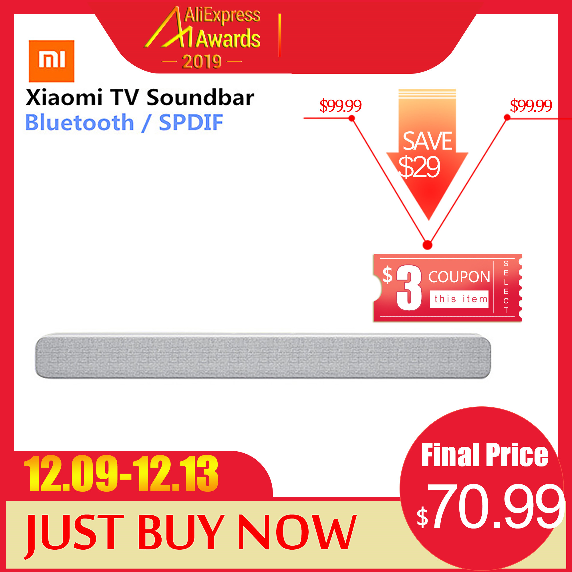 Xiaomi Wireless TV Soundbar Bluetooth Speaker Stylish Fabric Sound bar Support Bluetooth Playback Optical SPDIF AUX IN For Home