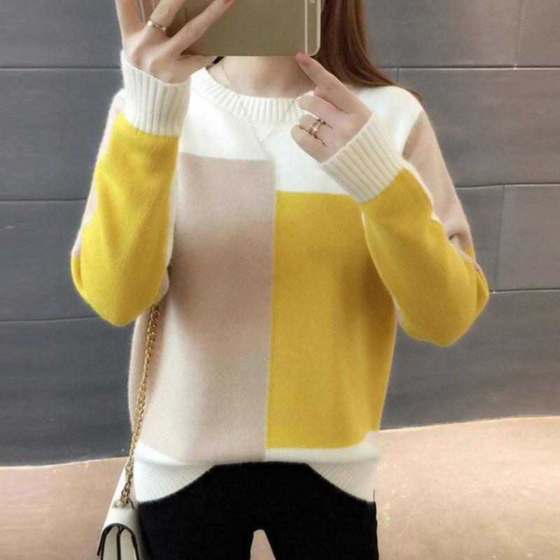 Autumn Winter Women Sweater O-Neck Knitted Jumper Top Loose Casual Warm Femme Sweater Long Sleeve Knit Ladies Fashion Pullover