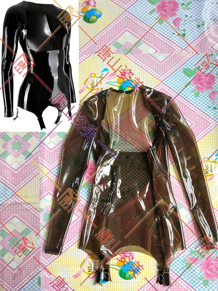 Latex Tops ruffles open bust Blouses Tops Shirts WITH Garter customized 0.4mm