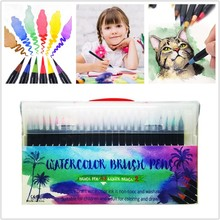 48 Colors Watercolor Brush Pens Art Marker Pens for Painting Drawing Soft Brush Pen Coloring Books Manga Calligraphy Stationery