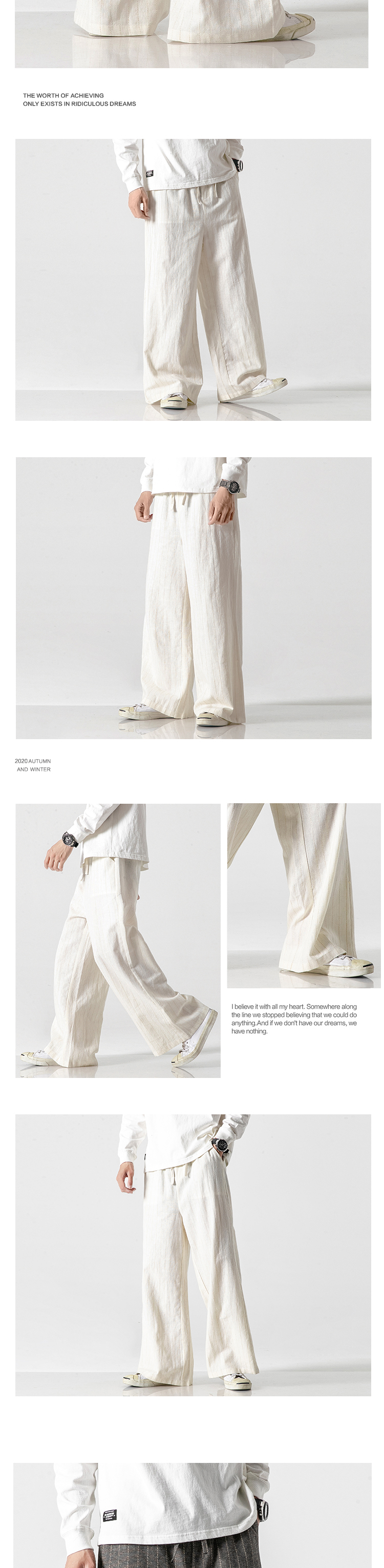 Sinicism Store Men Striped Chinese Style Wide Leg Pants Mens 2020 Japan Style Loose Trousers Male Oversize Vintage Casual Pants 30
