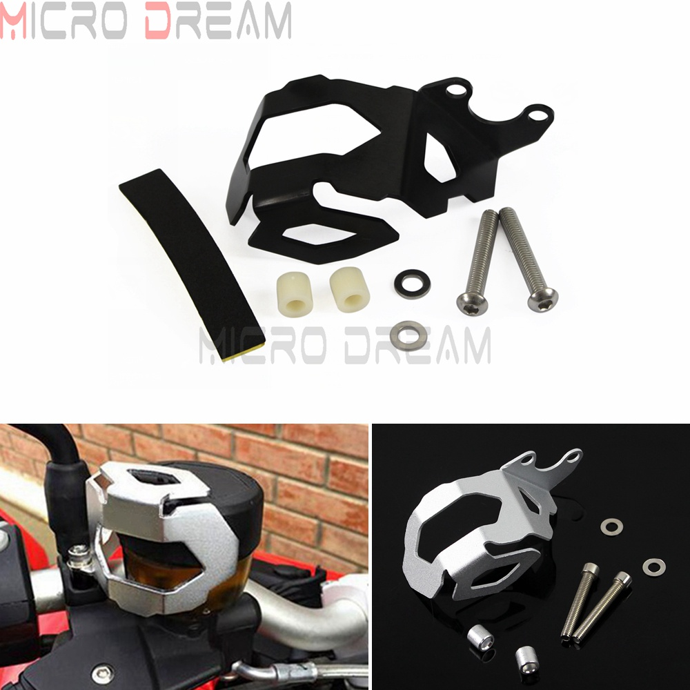 Black & Silver Motorcycle Front Brake Fluid Reservoir Guard Cover For <font><b>BMW</b></font> F800GS F700GS <font><b>F</b></font> 800 <font><b>GS</b></font> <font><b>F</b></font> <font><b>700</b></font> <font><b>GS</b></font> 2013-Later image
