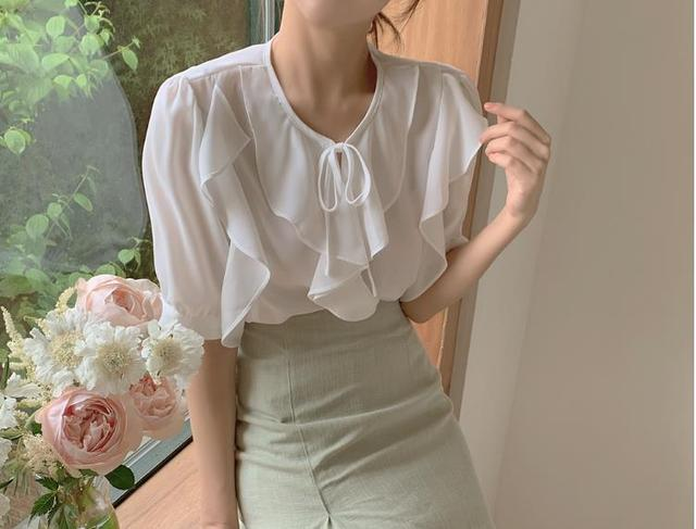 New Oversize Girls Summer blouse women chiffon suit short sleeves  Tops high waist pencil skirt  two piece suits Sell separately 1